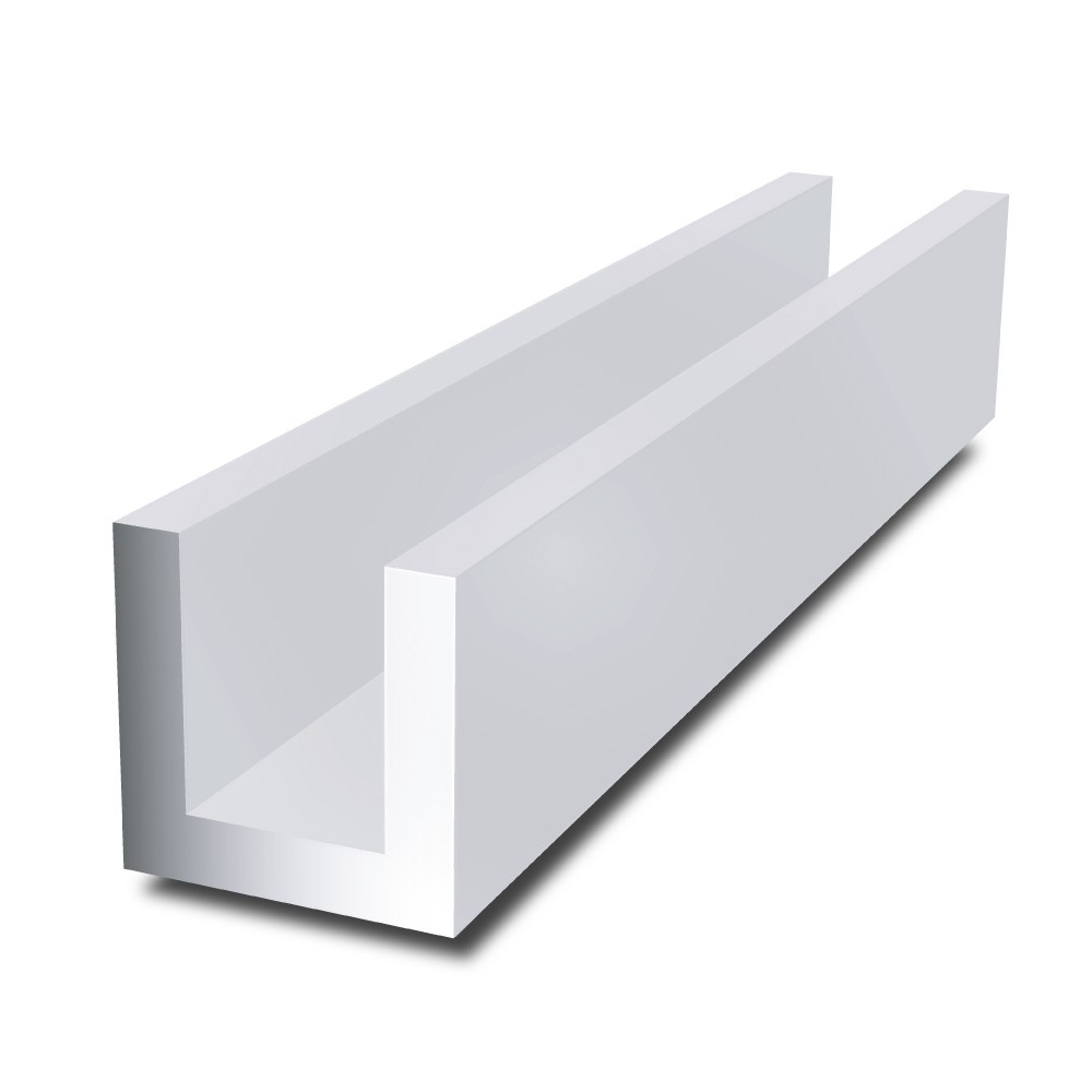 20 mm x 10 mm x 2 mm x 2 mm - Aluminium Channel