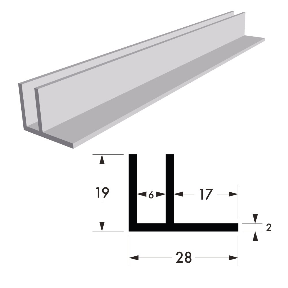1 1/16 in x 3/4 in - Aluminium F Section