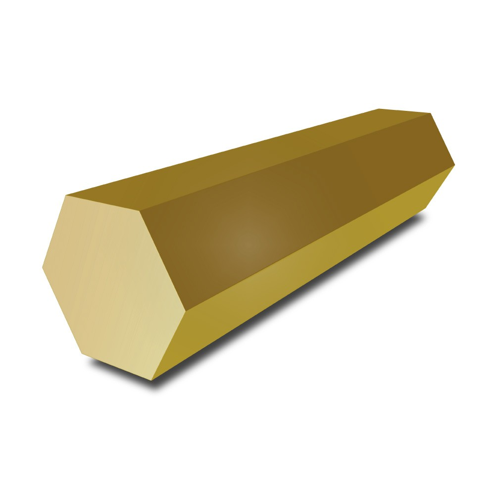 9/16 in - (14.288mm) Brass Hexagon Bar