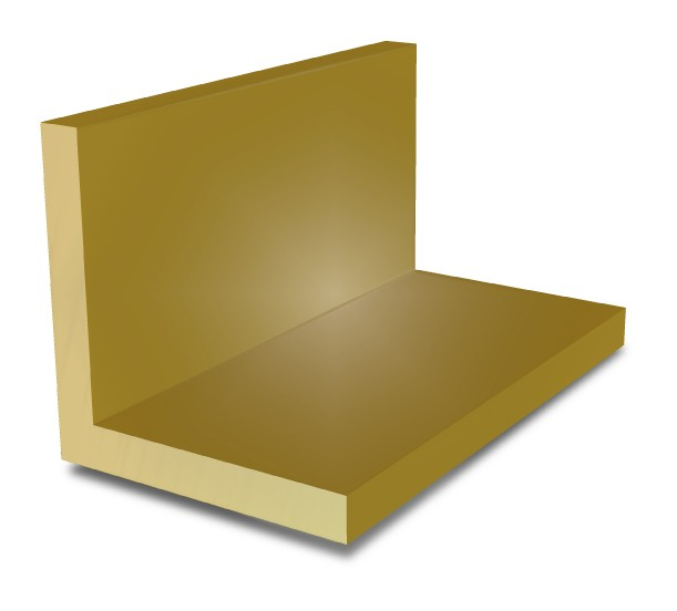 3 in x 3 in x 1/4 in - Brass Angle
