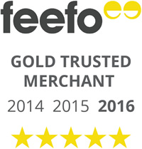 Feefo Gold Trusted Merchant 2014, 2015 and 2016